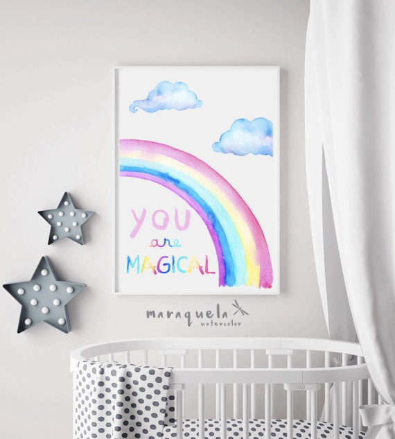 RAINBOW watercolor illustration, You are magical quote, baby girl's room