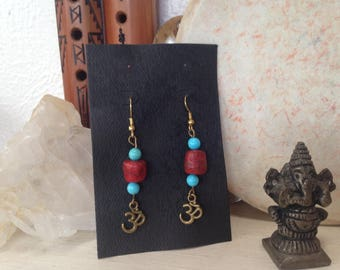Chakra OM Earrings Turquoise and Coral Stones