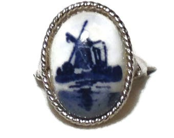 Vintage Blue and White Porcelain Painted Ring Made in Denmark