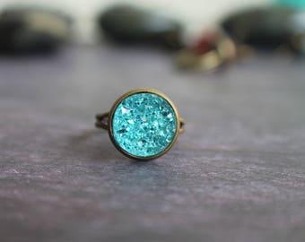 BUY 3 get 1 FREE Gorgeous Turquoise Druzy Ring, Crystal Ring, 12mm, Boho Ring