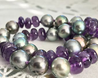Cultured Tahitian Pearl and Amethyst Bead Strand, 14k White Gold (PN8)