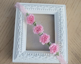 Pink flower headband- for baby or toddler