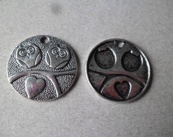 x 1 round pendant 25 mm silver OWL lovers