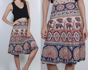 Vintage Wrap Skirt // 70s Batik Indian Cotton Floral Elephant - XS Small Medium