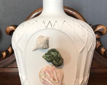 Bottle, upcycled bottle, bar ware, bottle, distressed bottle,diffuser bottle, seashell,