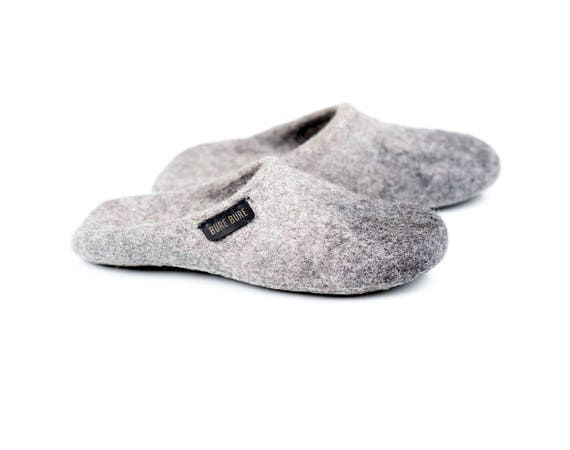 with Felted on House Grey slippers wool Alpaca mules Felted non men slippers Slip slippers shoes felted slip soles slide for slippers qwIq16ynB