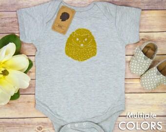 Baby Bodysuit Hedgehog, Bodysuit, Baby Boy, Baby Girl, Gender Neutral, Shower Gift, Birthday, Woodland, Forest, Linoleum Block Print