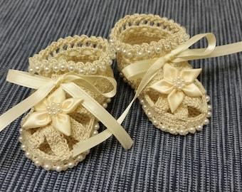 Baby Booties Baby Girl Booties Christening Baby Shoes Christening Crochet Booties Cream Flowers Pearls Newborn Girl Reborn Baby Shower Gift
