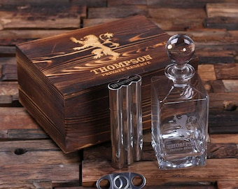 Set of 13 Personalized Engraved Etched Scotch Whiskey Decanter, Metal Flask Cigar Case Holder Groomsmen Gift, Father's Dad Gift 025288