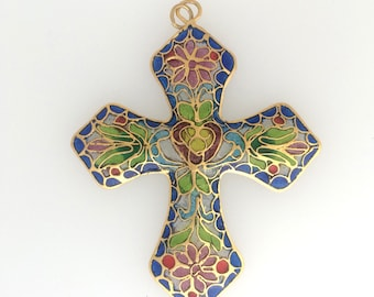 Glass Cloisonne cross pendant: item #  2491