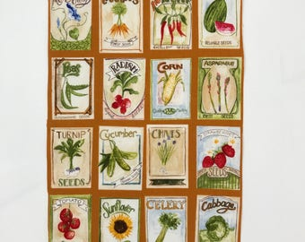 Set of 16 charming fabric swatches - Vintage Vegetable Fabric Seeds. Craft fabric idea from Australia