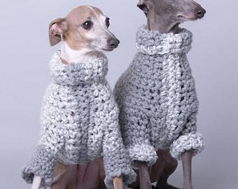 Small/medium. Warm turtleneck sweater vest coat pullover for dog, short or mi-long sleeves, large torso (italian greyhound style)
