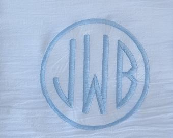 Round Monogram Flour Sack Dish Towel