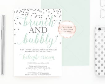 Bridal Shower Invitation, Brunch and Bubbly Bridal Shower Invitation, Brunch and Bubbly, Bridal Shower Brunch Invitation, Bridal Shower 704