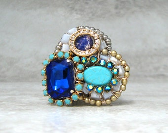 Huge Statement Ring- Extra Large Monster Fun Cocktail Ring with Rhinestones (Turquoise/ Cobalt Blue)