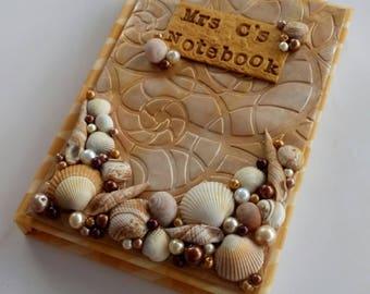 Seashell journal, seashell diary, seashell notebook, beach diary, beach journal, beach notebook, polymer clay shells, personalised journal