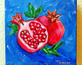 Pomegranate Painting, Pomegranate Art, Kitchen Decor, Still Life, Fruit Artwork, 4X4 Original Painting, Judaica Wall Art, Rimon Fruit Canvas