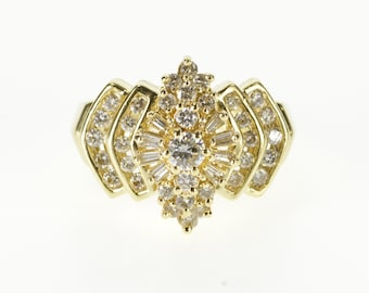 14K 0.94 Ctw Ornate Diamond Cluster Encrusted Ring Size 7.25 Yellow Gold