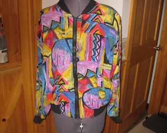 Vtg Rock It Wind Jacket Med Swirled Psychadelic Pattern 100 Rayon hipster for sure free ship