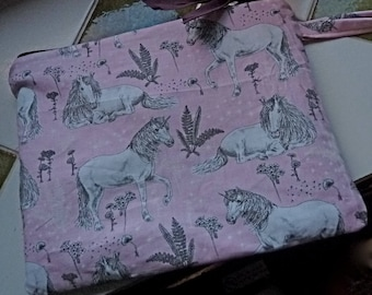 clutch purse pink and gray Unicorn