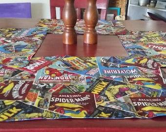 Marvel Superhero Place Mats / Table Mats/ Runner/ Table Decor