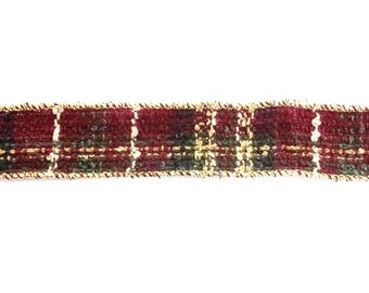 4 metres of Ribbon fancy Christmas PLAID Red Green Gold REF. 624