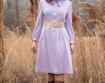 Vintage Lilac Striped Tie Neck Dress (Size Medium/Large)