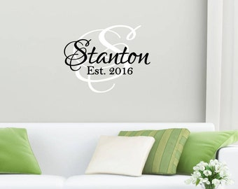 Custom Monogram & Last Name Vinyl Decal Set | Personalized Home Decor, Wall Art Lettering Decals 22x17 | 40+ Colors Available! Quick Ship!