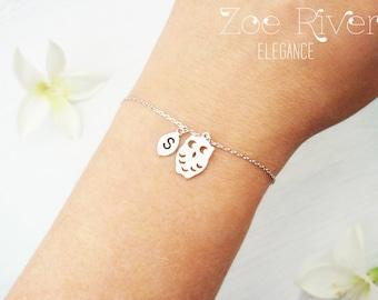 Choose rose gold, silver or gold dainty personalized owl bracelet. Elegant personalized owl initial bracelet