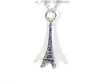 Eiffel Tower Necklace, Paris Jewelry, Traveler Gift Paris France Eiffel Charm, Paris Theme Favor, Birthday Present Wedding pewter pendant 90