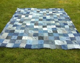 Blue Jean Denim Quilt -  Upcycled Denim Patchwork Quilt