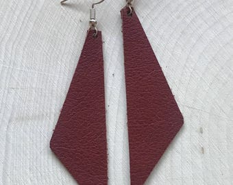 Perfect Angle Leather Earrings {Mahogany Brown}