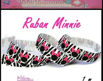 1 meter printed Ribbon Minnie Zebra grosgrain Ribbon scrapbooking cardmaking