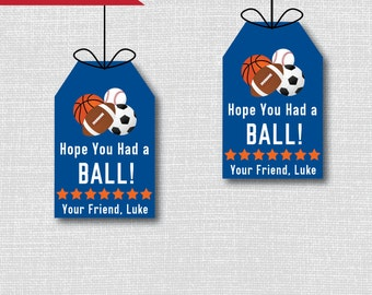 All Star Sports Birthday Party Thank You Favor Tags - Sports Theme Birthday Party - Digital Design or Handcrafted Tags - FREE SHIPPING