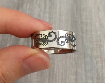 Scorpion ring, scorpion wedding ring, Scorpions on a ring, Scorpions on wedding band, scorpion lover ring, scorpion lover gift, bug lover