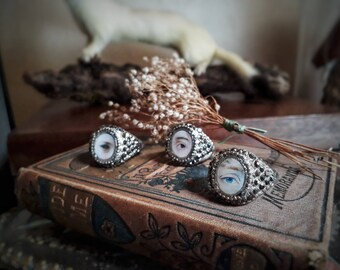 Lover's eye ring series. Victorian style lover's eye reproduction.