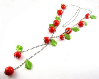 Lucite Cherries & Leaves Long Necklace - Classic Retro Plastic Look