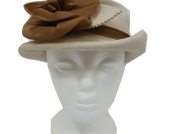 Vintage Hat by Kangol in Beige One Size w/ Floral & Ribbon Bowler - 1990s - Excellent Condition - Free Postage