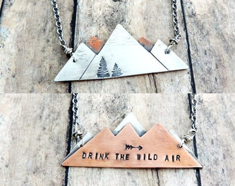 Mountain Range Necklace - Drink the Wild Air Nature Quote - Reversible Mountain Peaks Jewelry - Gift for Hiker - Outdoor Lover