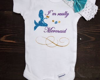 Im really a mermaid baby girl bodysuit onesie creeper or tshirt with two styles of bow aqua and purple mermaid with fish