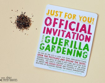 Guerilla Gardening postcard with flower seeds