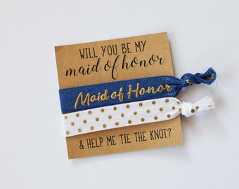 Will You Be My Maid of Honor // Help Me Tie the Knot // Bridesmaid Proposal// Maid of Honor Gift // Maid of Honor Two Hair Ties