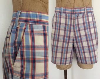 "1970's Blue Plaid Mens Shorts Retro Short Shorts 36"" Wiast by Maeberry Vintage"