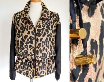 Deadstock vintage jacket / animal print anorak jacket / silk jacket nwt / leopard print / drawstring waist / oversized slouchy jacket M L XL