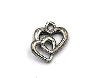 Entwined Heart Pewter Charm  -1