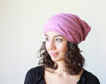 Lilac knit hat women slouchy beanie hat