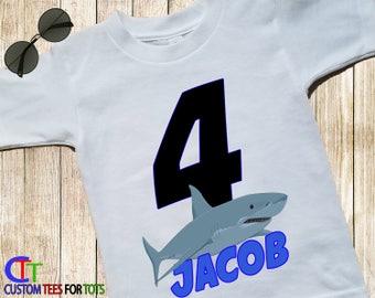 Shark Birthday Shirt - Shark Shirt - Boys Personalized Shark Shirt with Name and Age - Great White Shark Shirt - Birthday Celebration Shirt