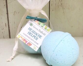 Headache Helper Bath Bomb Natural Handmade Essential Oils- Green Daffodil