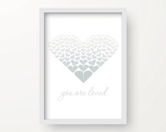 8x10 Silver Heart Digital Origami Print – You are loved