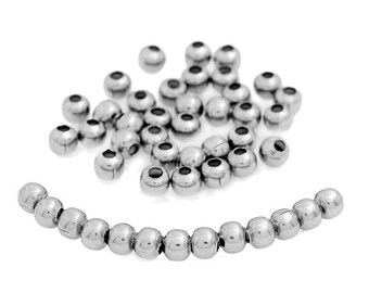 1000 Spacer Beads Silver Tone 3mm - FD025
